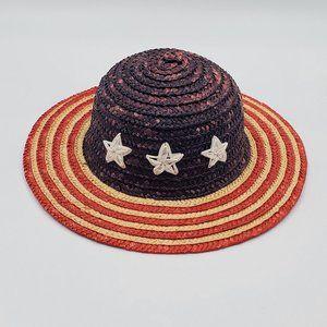 Red, White & Blue Vintage Straw Children's Hat